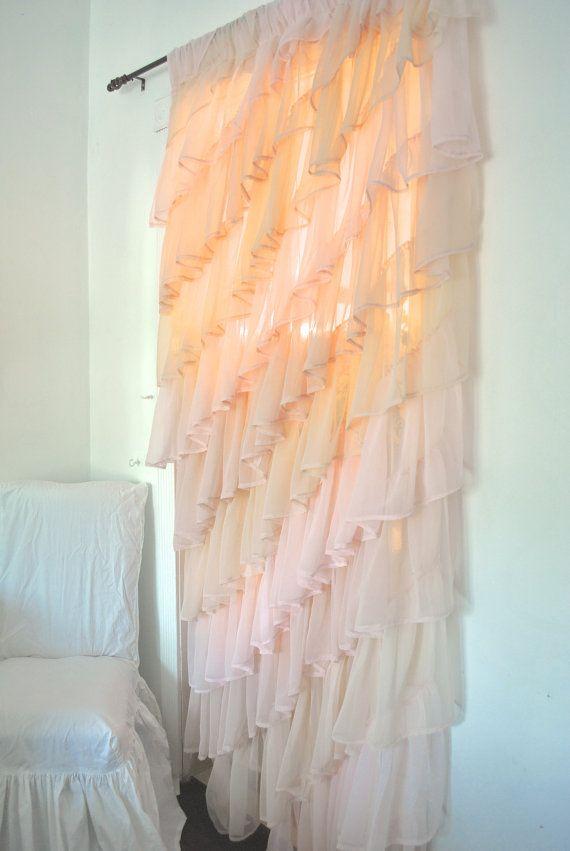 ruffled sheer bedroom curtain good way to use that old bridesmaid