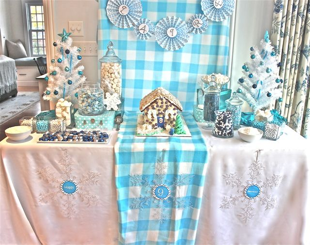 Gorgeous dessert table at a Winter Wonderland party!  See more party ideas at CatchMyParty.com!  #partyideas #winter