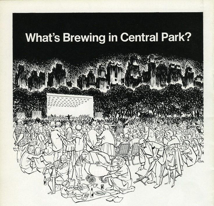"A cartoon advertisement for the New York Philharmonic Concert in the Parks cartoon in 1969 with the caption ""What's brewing in Central Park?""  Courtesy of NYP Archives."