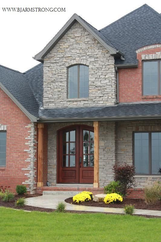 Brick stone custom home exterior dream home pinterest for Custom built brick homes