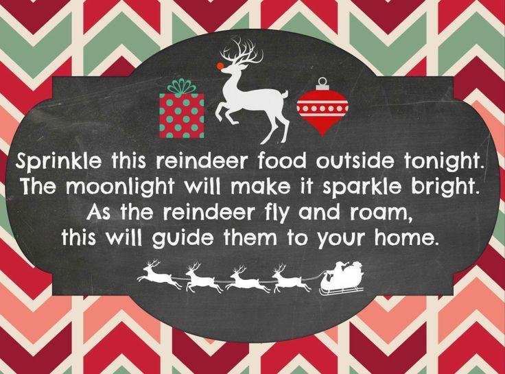 Free Reindeer Food Poem Printable
