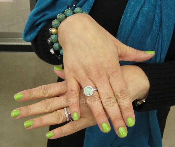 Sally Hansen's Xtreme Wear Green with Envy- with a sparkling diamond ring