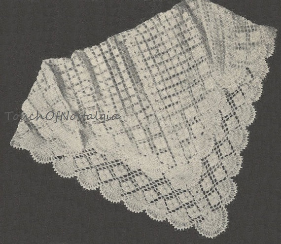 Crochet Shawl Patterns For Babies : Vintage Lacy CROCHET Baby SHAWL / Blanket Pattern 1940s ...