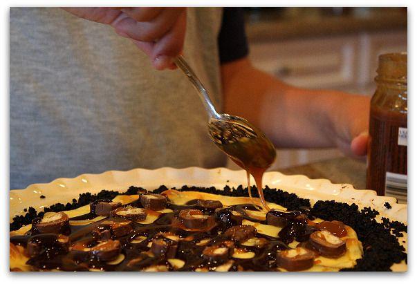 Twix Bar Cheesecake Pie… A Pie Contest Winner!
