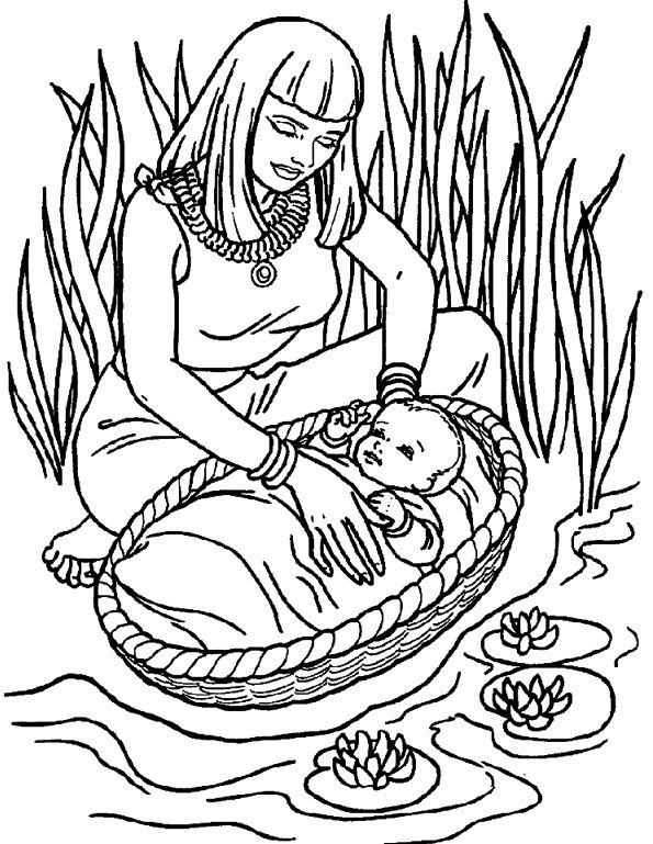 Free Coloring Pages Of Baby Moses In Basket Baby Moses Coloring Page