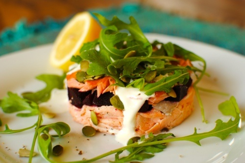 Double Salmon & Beetroot Stack with Cardamom-Lemon Creme Fraiche. A ...