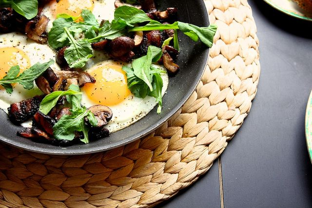 mushroom and bacon skillet, by joy | eating's the best | Pinterest
