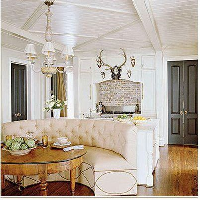 Curved Banquette seating in kitchen I love the ceiling