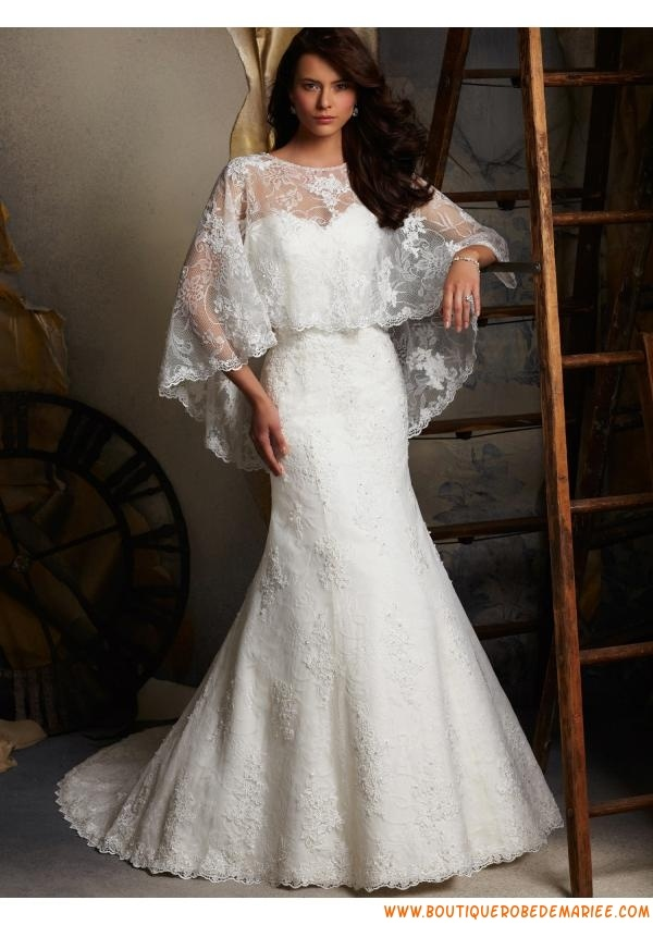 Robe de mariée 2013 dentelle perlé avec cape