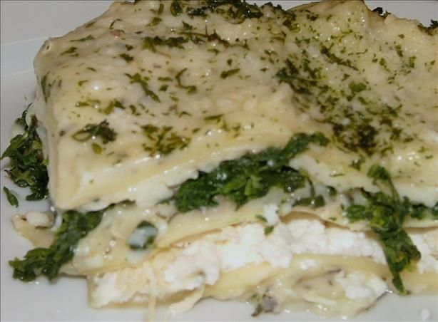 White Cheese Chicken Lasagna-use mushrooms instead of spinach
