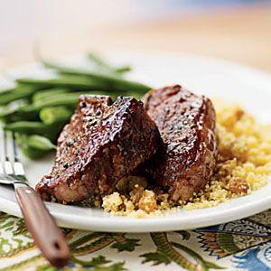 Five-Spice Lamb Chops with Citrus-Raisin Couscous | MyRecipes.com