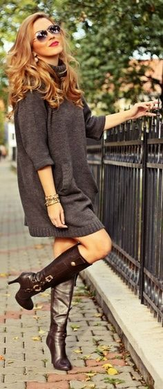 Oversized Grey Sweater Dress with Long Braun High Heels Boots