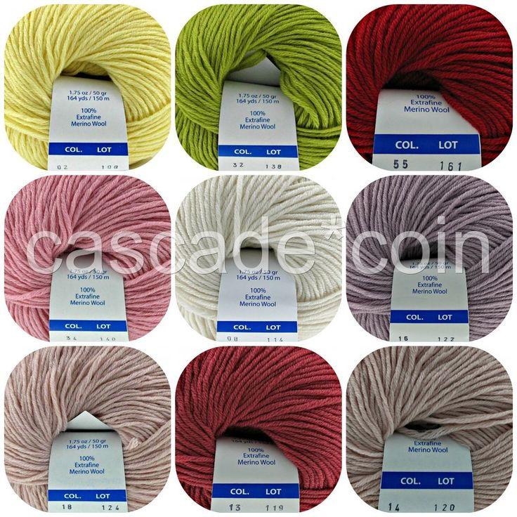 100% Merino Wool Italian Yarn Extra Fine Sport Weight Two Skeins 328 ...