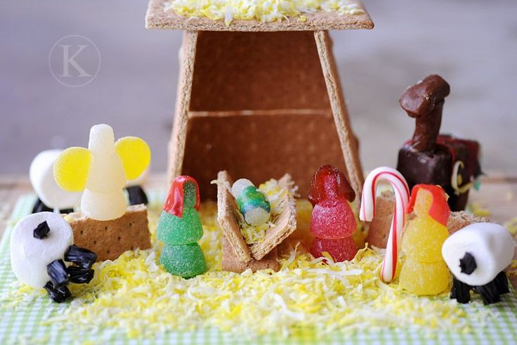 Love this!  A nativity instead of a gingerbread house!  More great ideas here too.