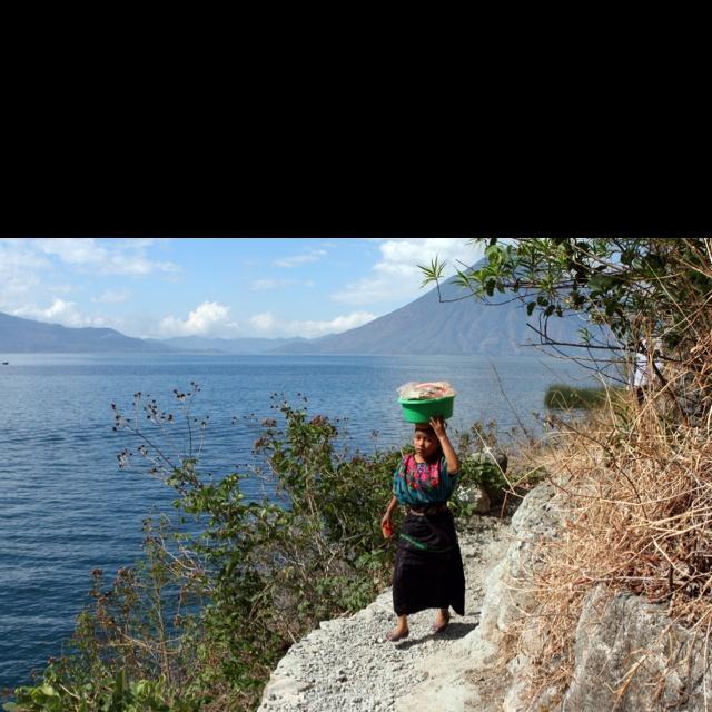 Foot path between villages, lake Attitlan.