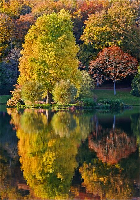 Reflections of autumn at Stourhead Gardens, Wiltshire, England (by Phil Selby).