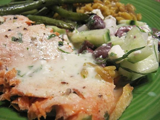Herb and Buttermilk Marinated Salmon with Cucumber Salad # ...