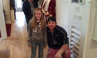Austyn and #47 Chris Cooley at his Store in Leesburg, Va