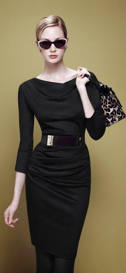 office black dress no belt at waist if a belt on short waisted wear