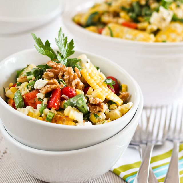 Grill Roasted Corn Salad ~ The Healthy Foodie