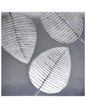 Sunpan 'Three Silver Leaves' Wall Art