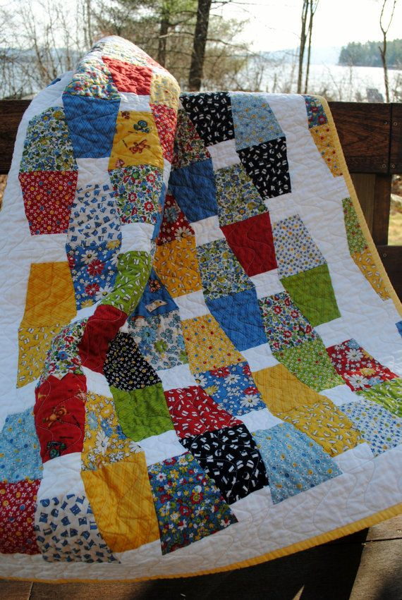 Patchwork Baby Quilt Lap QUILT Toddler Bed Quilt