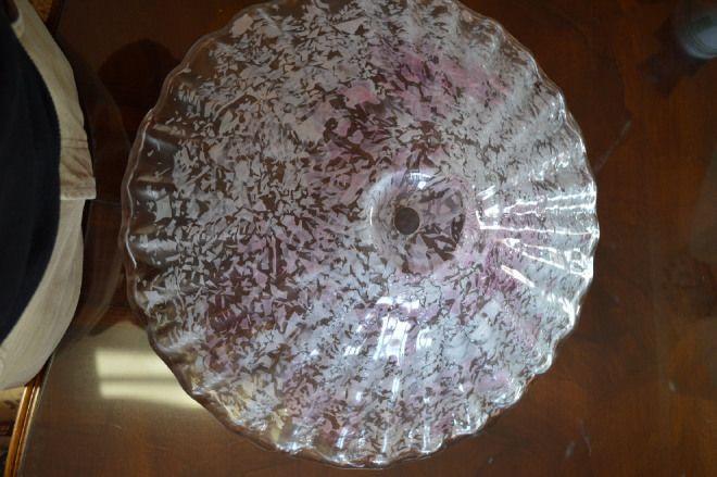 Plafoniera in vetro granigliato cm 50 bianca e rosa