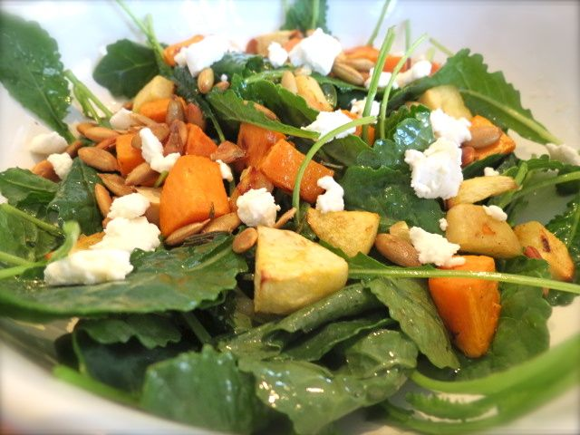 Baby Kale Salad with Roasted Sweet Potatoes and Apples, Pepitas, Goat ...
