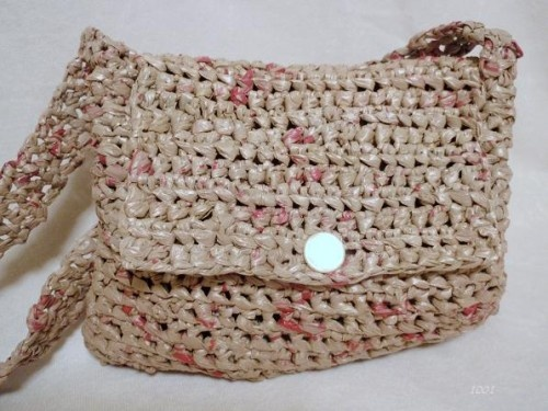 Crocheted Purse Made From Eco Friendly Brown and Red Plarn