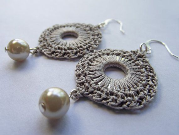 Free Crochet Patterns For Earrings : Tan Silk Crocheted Washer Circle Earrings with Pearl Dangles