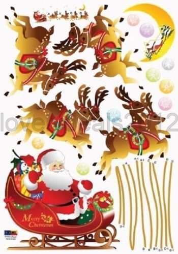 Wall Sticker Decal For Christmas Instant Decoration - Santa and Reind ...