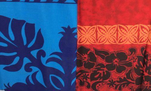 Tiki Bali Batik Red Blue Hawiian Fabric Quilt Sewing Cloth