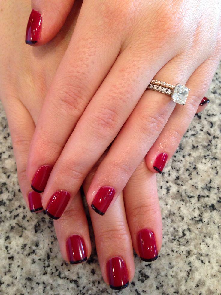Gel manicure with black tip!! | Nails | Pinterest