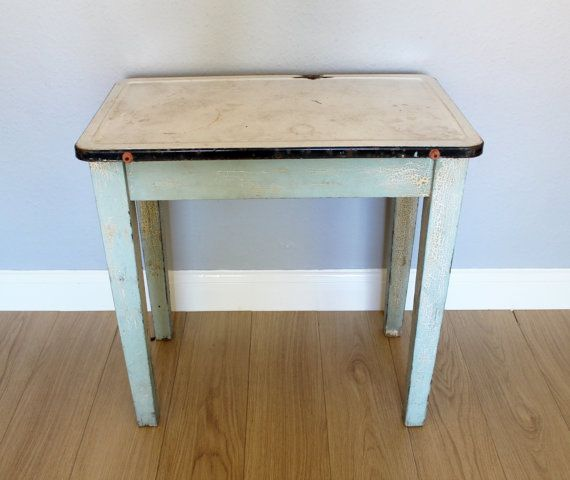 Rare vintage wooden painted table with enamel top 1920s for 1930 kitchen table