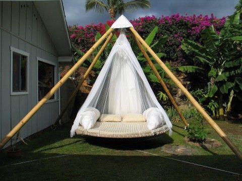 Outdoor Floating Bed.   From The Floating Bed company.   * WITH a bug net...  NICE.Yes please....