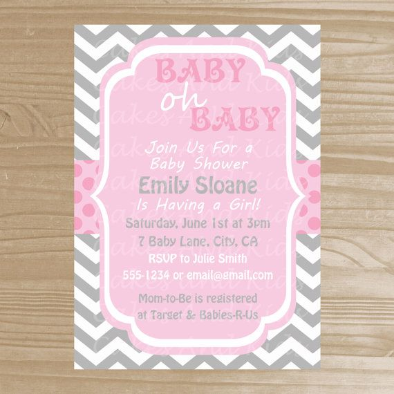 baby shower invitation grey and pink girl baby shower invitation
