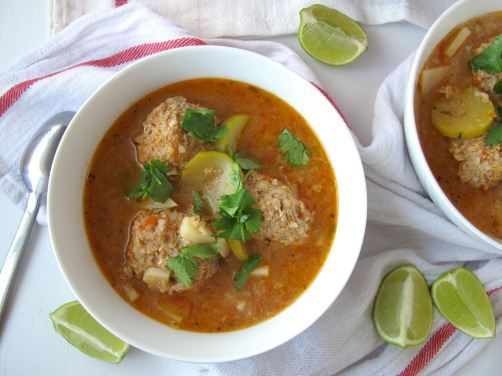 Albondigas Soup (Mexican turkey meatball soup) with fresh mint ...