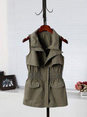 Green Lapel Sleeveless Zipper Pockets Pleated Outerwear