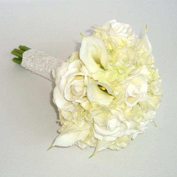 Bridal Bouquets Calla Lilies And Hydrangeas : White bridal bouquet roses hydrangeas calla lilies real
