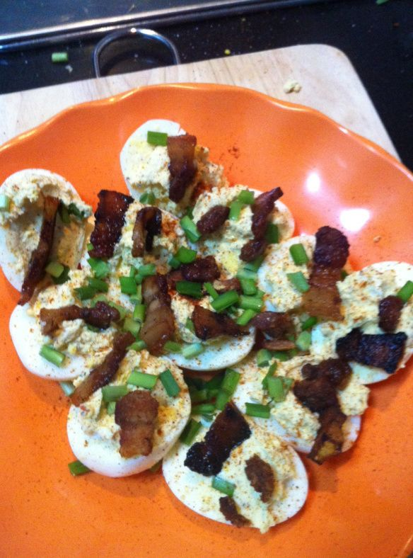 bacon and goat cheese deviled eggs | LOW CARB | Pinterest