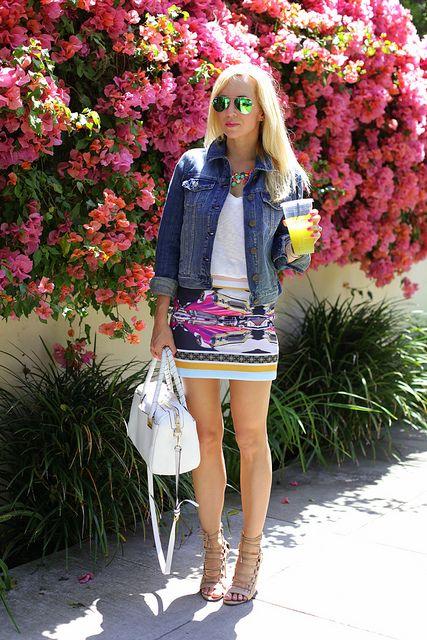 White Tshirt / Graphic Skirt / Denim Jacket  by BrooklynBlonde1, via Flickr