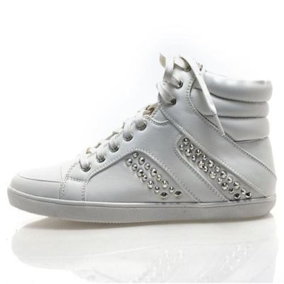 carmia white metal studded high top sneaker laced up