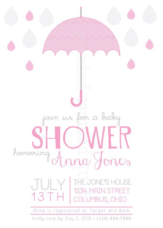modern umbrella baby shower invitation by pinkpeoniespaperie