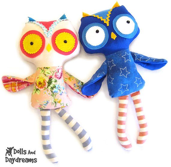 Owl PDF Sewing Pattern Softie Stuffed Toy. $10.00, via Etsy.