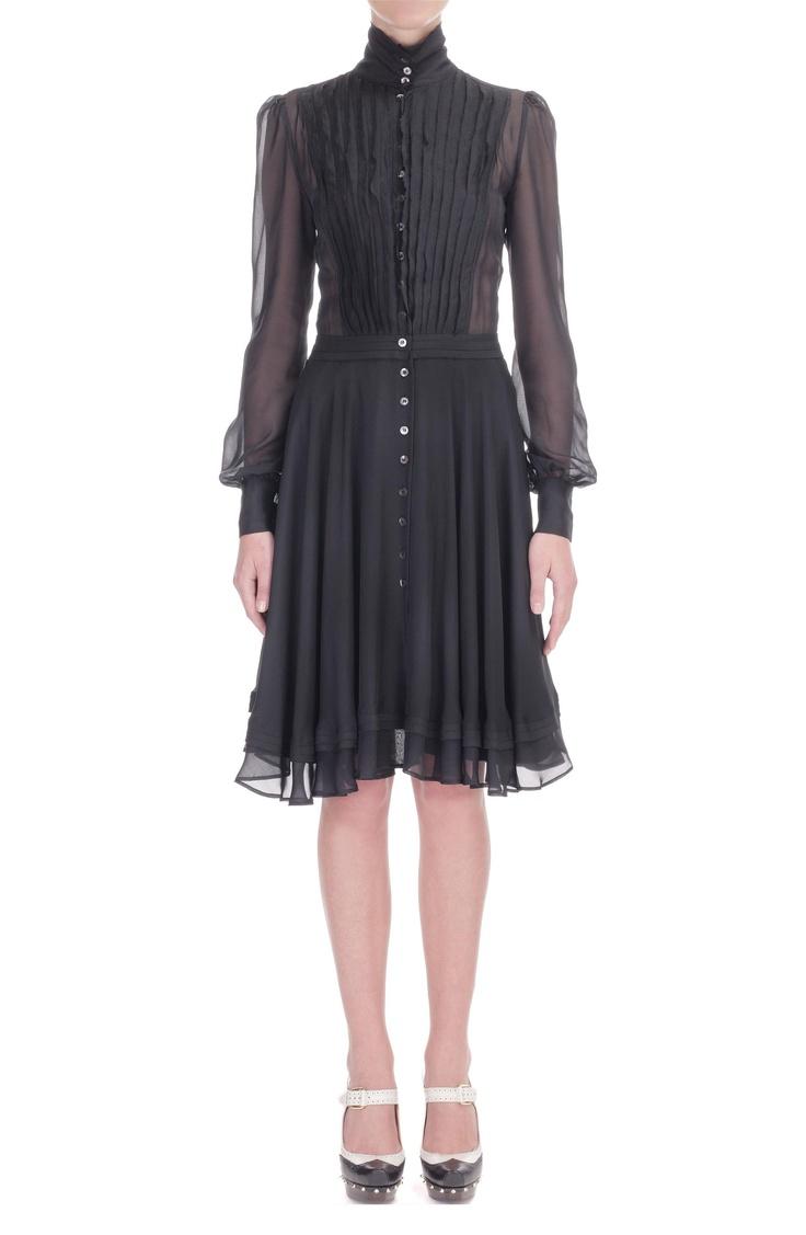 Black chiffon pleated ruffle shirt dress gear pinterest for Black pleated dress shirt