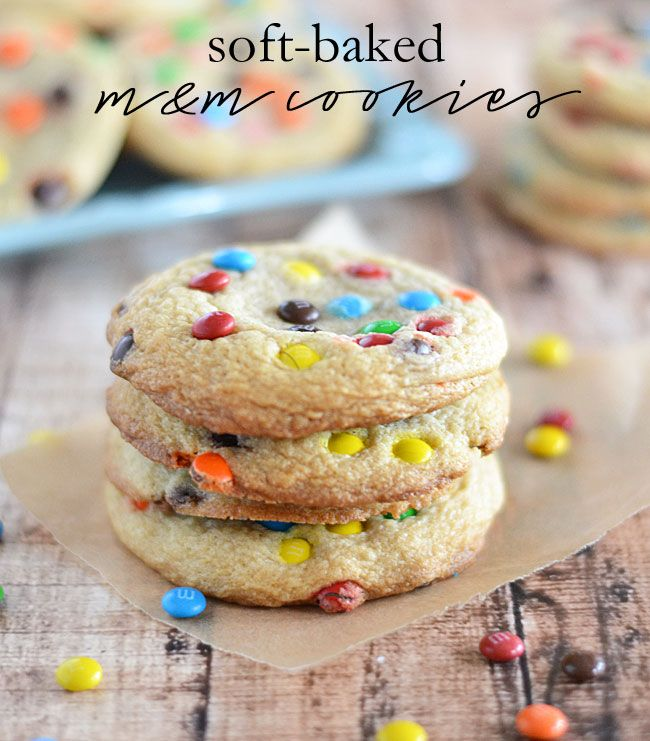 These Soft-Baked M&M Cookies are super soft and chewy, and taste just ...