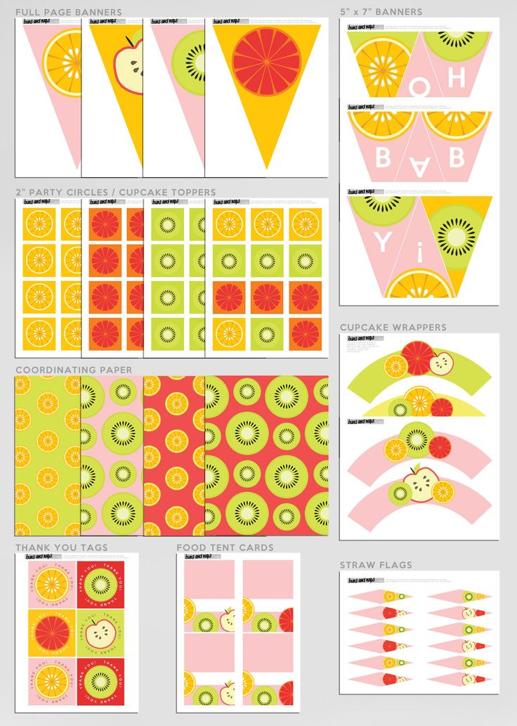 download fresh colors fruits girl baby shower party pac