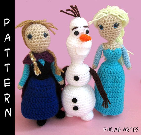 Crochet Free Pattern Olaf : Frozen Bundle Amigurumi Pattern by Philae Artes, crochet ...