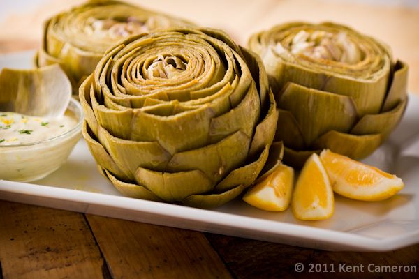 Steamed Artichokes with Lemon-Garlic Dipping Sauce, good warm or cold.
