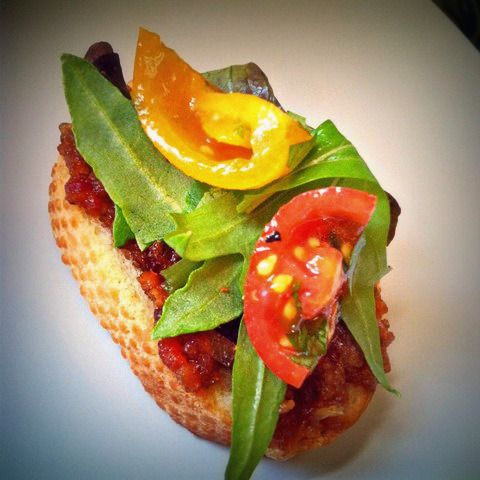Homemade whiskey-bacon jam BLTs with marinated baby heirloom tomatoes